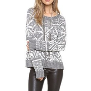 Alice + Olivia Lucille Snowflake Sweater XS Gray